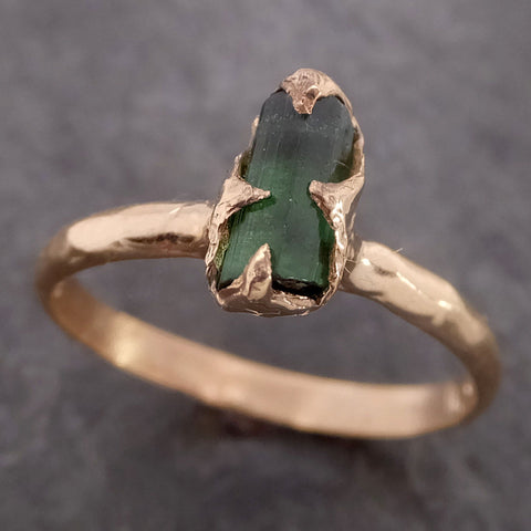 Raw Green Tourmaline yellow Gold Ring Rough Uncut Gemstone solitaire tourmaline recycled 14k cocktail statement byAngeline 2152