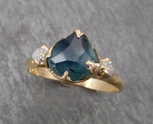 Partially faceted Montana Sapphire Diamond 18k yellow Gold Engagement Ring Wedding Ring Custom One Of a Kind blue Gemstone Ring Multi stone Ring 1805