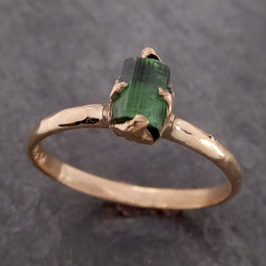Raw Green Tourmaline yellow Gold Ring Rough Uncut Gemstone solitaire tourmaline recycled 14k cocktail statement byAngeline 2153