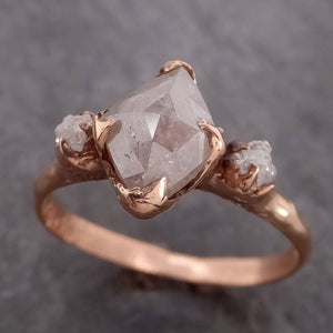 Fancy cut white Diamond Engagement 14k Rose Gold Multi stone Wedding Ring Stacking Rough Diamond Ring byAngeline 2149