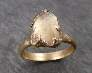 Partially Faceted Moonstone Yellow Gold Ring Gemstone Solitaire recycled 14k statement cocktail statement 1807