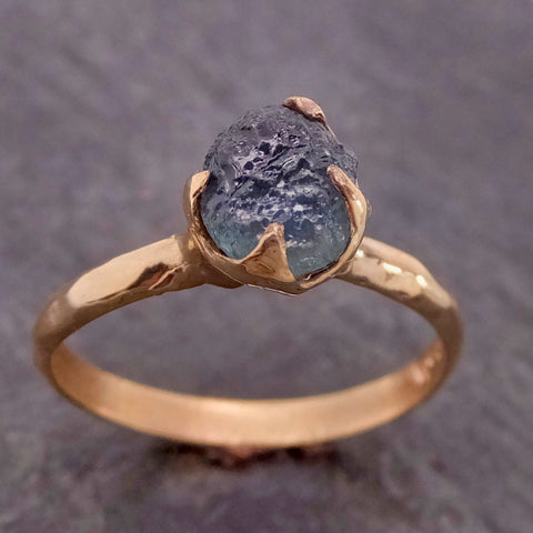 Raw Sapphire Montana sapphire 14k yellow Gold Engagement Ring Blue Wedding Ring Custom Gemstone Ring Solitaire Ring byAngeline 2150