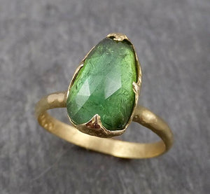 Fancy cut Green Tourmaline Yellow Gold Ring Gemstone Solitaire recycled 18k statement cocktail statement 1802
