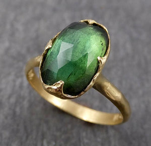 Fancy cut Green Tourmaline Yellow Gold Ring Gemstone Solitaire recycled 18k statement cocktail statement 1803