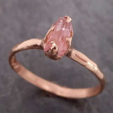 Raw Pink Tourmaline Rose Gold Ring Rough Uncut Pastel Pink Gemstone Promise engagement wedding recycled 14k Size stacking 2148