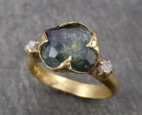 Partially faceted Montana Sapphire natural green sapphire gemstone Raw Rough Diamond 18k Yellow Gold Engagement ring multi stone 1801