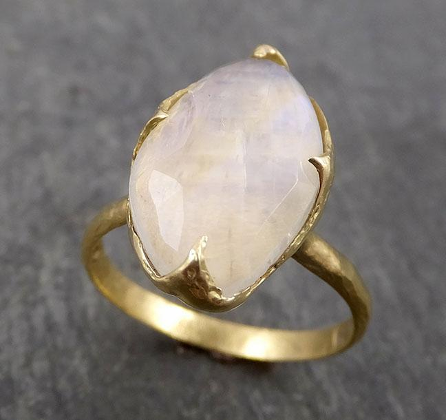 Fancy cut Moonstone Yellow Gold Ring Gemstone Solitaire recycled 18k statement cocktail statement 1806