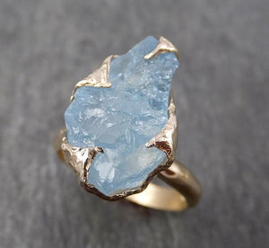 Raw uncut Aquamarine Solitaire 14k Yellow gold Ring Custom One Of a Kind Gemstone Ring Bespoke byAngeline 1809