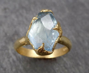 Partially faceted Aquamarine Solitaire Ring 18k gold Custom One Of a Kind Gemstone Ring Bespoke byAngeline 1814