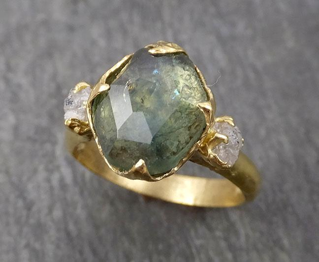 Partially faceted Montana Sapphire natural green sapphire gemstone Raw Rough Diamond 18k Yellow Gold Engagement ring multi stone 1812