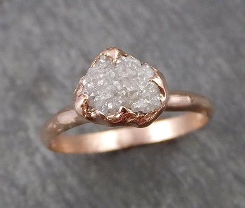 Raw White Diamond Solitaire Engagement Ring Rough 14k rose Gold Wedding diamond Stacking Rough Diamond byAngeline 1817