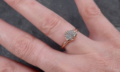 Fancy cut Champagne Diamond Engagement 14k Rose Gold Multi stone Wedding Ring Rough Diamond Ring byAngeline 0644