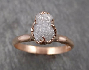 Raw White Diamond Solitaire Engagement Ring Rough 14k rose Gold Wedding diamond Stacking Rough Diamond byAngeline 1816