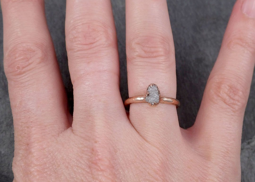 14k Raw Rough Diamond white gold Engagement Multi stone Three Ring