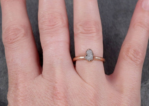 Raw White Diamond Solitaire Engagement Ring Rough 14k rose Gold Wedding diamond Stacking Rough Diamond byAngeline 1815