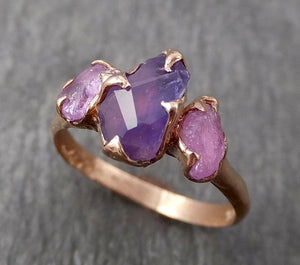 Partially Faceted purple Sapphire 14k Rose gold Multi Stone Ring Gold Gemstone Engagement Ring Raw 1818