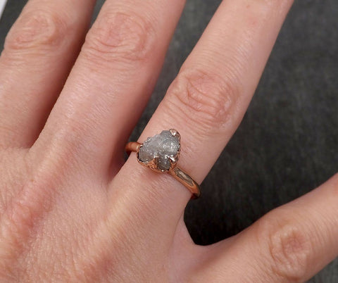 Raw Diamond Solitaire Engagement Ring Rough 14k rose Gold Wedding Ring diamond Stacking Ring Rough Diamond Ring byAngeline 1820