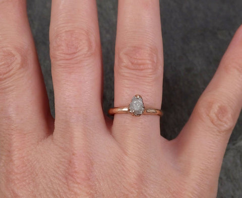 Raw Diamond Solitaire Engagement Ring Rough 14k rose Gold Wedding Ring diamond Stacking Ring Rough Diamond Ring byAngeline 1821