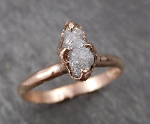 Raw Diamond Solitaire Engagement Ring Rough 14k rose Gold Wedding Ring diamond Stacking Ring Rough Diamond Ring byAngeline 1822