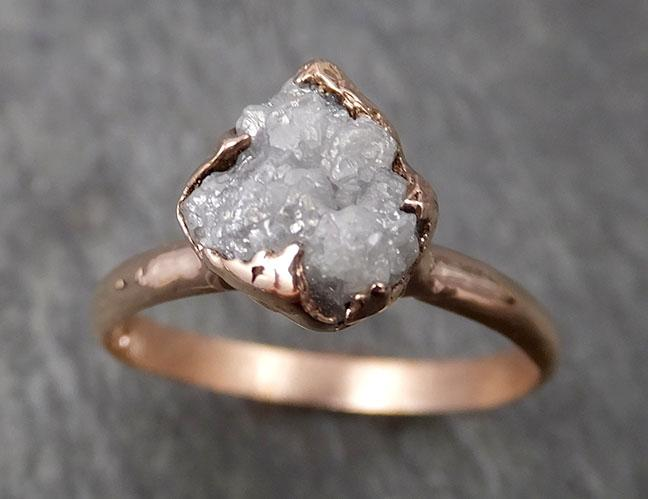 Raw Diamond Solitaire Engagement Ring Rough 14k rose Gold Wedding Ring diamond Stacking Ring Rough Diamond Ring byAngeline 1823