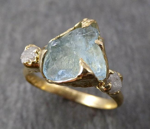 Aquamarine Diamond Raw Uncut 18k Gold Engagement Ring Multi stone Wedding Ring One Of a Kind Gemstone Bespoke byAngeline 1831