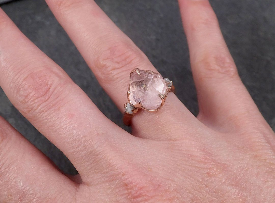 Partially Faceted Morganite Diamond 14k Rose Gold Engagement Ring Multi stone Wedding Ring Custom One Of a Kind Gemstone Ring Bespoke Pink Conflict Free by Angeline 1836