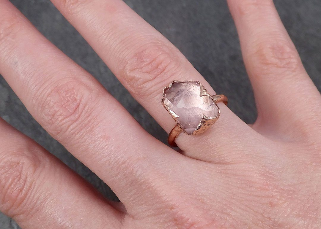 Partially Faceted Morganite Diamond 14k Rose Gold Engagement Ring Multi stone Wedding Ring Custom One Of a Kind Gemstone Ring Bespoke Pink Conflict Free by Angeline 1837