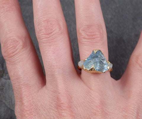 Aquamarine Diamond Raw Uncut 18k Gold Engagement Ring Multi stone Wedding Ring Custom One Of a Kind Gemstone Bespoke byAngeline 1833