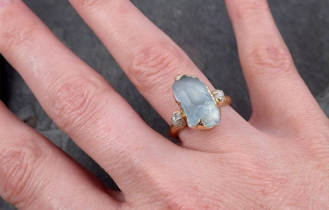 Raw Rough and partially Faceted Aquamarine Diamond 18k yellow Gold Multi stone Ring One Of a Kind Gemstone Ring Recycled gold 1835