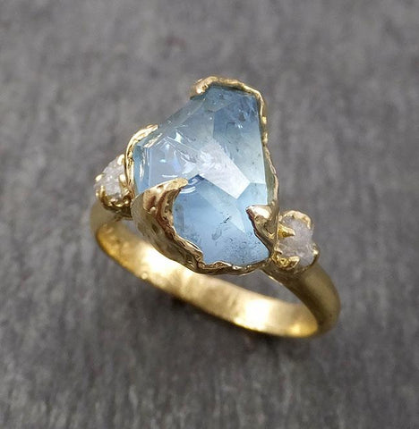 Raw Rough and partially Faceted Aquamarine Diamond 18k yellow Gold Multi stone Ring One Of a Kind Gemstone Ring Recycled gold 1834