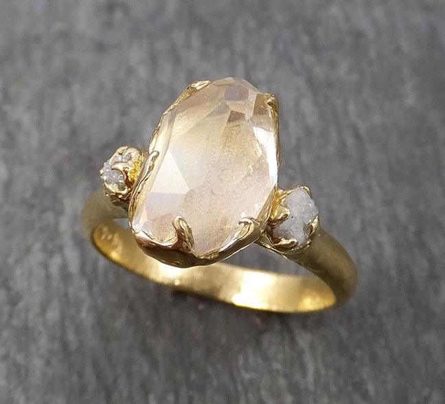 Fancy cut Moonstone and rough diamonds Yellow Gold Ring Gemstone Multi Stone recycled 14k statement cocktail statement 1841