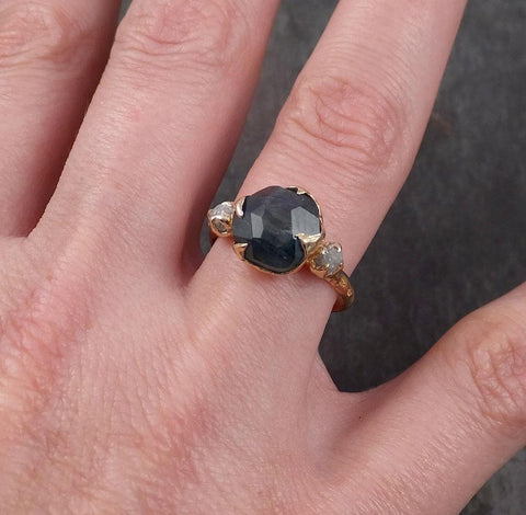 Partially faceted Montana Sapphire natural Blueish-green sapphire gemstone Raw Rough Diamond 14k Yellow Gold Engagement ring multi stone 1840