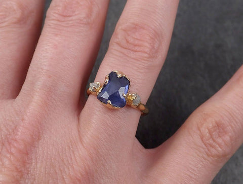 Partially Faceted Sapphire Raw Multi stone Rough Diamond 14k Gold Engagement Ring Wedding Ring Custom One Of a Kind Gemstone Ring Three stone 1875