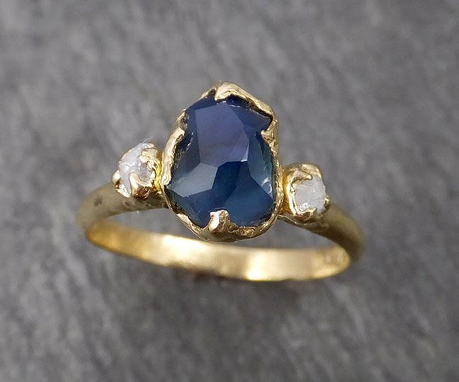 Partially faceted Montana Sapphire natural Blue sapphire gemstone Raw Rough Diamond 14k Yellow Gold Engagement ring multi stone 1842