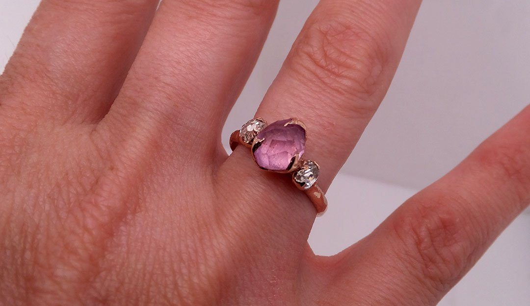 Partially faceted Pink Sapphire gemstone Fancy cut Diamond 14k Rose Gold Engagement multi stone 1843