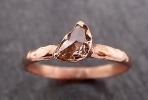 Faceted Fancy cut white Half Moon Diamond Engagement 14k Rose Gold Solitaire Wedding Ring byAngeline 1854