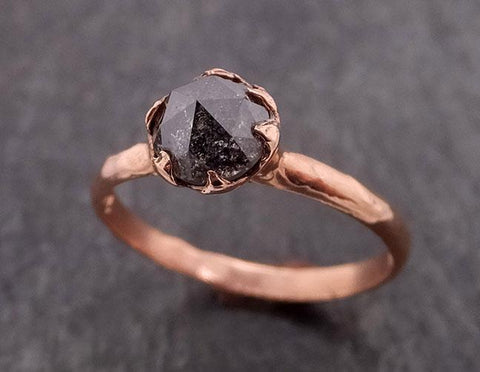 Fancy cut Salt and pepper Solitaire Diamond Engagement 14k Rose Gold Wedding Ring byAngeline 1853