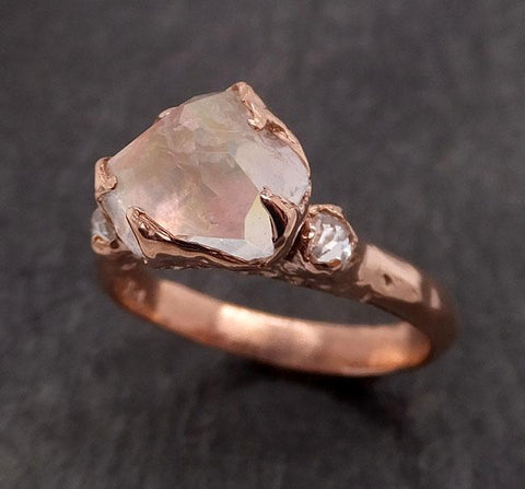 Partially Faceted Moonstone and diamonds 14k Rose Ring Gemstone multi stone recycled 1844
