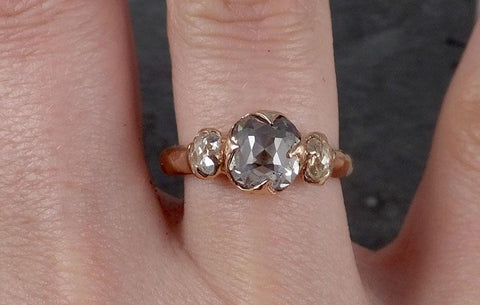 Fancy cut white Diamond Engagement 14k Rose Gold Multi stone Wedding Ring byAngeline 1851