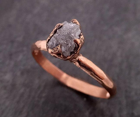 Raw Diamond Solitaire Engagement Ring Rough 14k rose Gold Wedding Ring diamond Stacking Ring Rough Diamond Ring byAngeline 1848