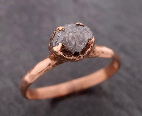 Raw Diamond Solitaire Engagement Ring Rough 14k rose Gold Wedding Ring diamond Stacking Ring Rough Diamond Ring byAngeline 1847