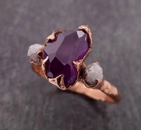 Sapphire Partially Faceted Multi stone Rough Diamond 14k rose Gold Engagement Ring Wedding Ring Custom One Of a Kind Gemstone Ring 1846