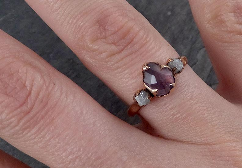 Partially Faceted Sapphire Raw Multi stone Rough Diamond 14k rose Gold Engagement Ring Wedding Ring Custom One Of a Kind Gemstone Ring 1845