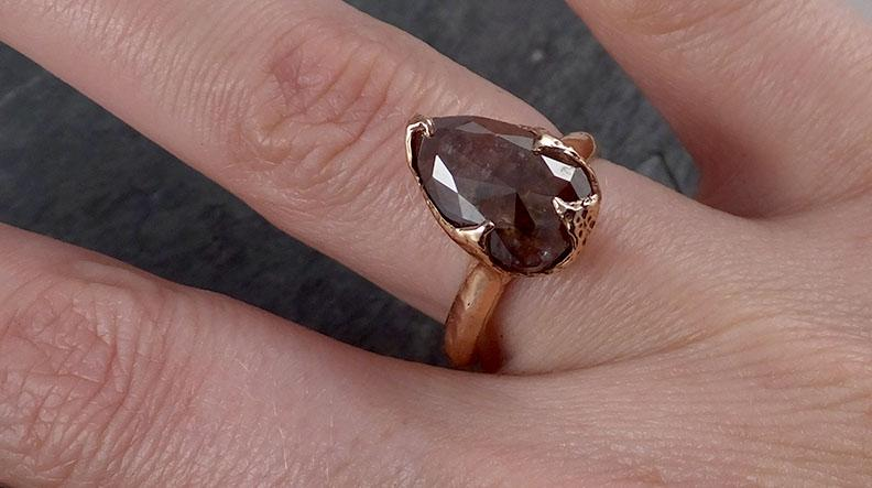 Fancy cut Coral Solitaire Diamond Engagement 14k Rose Gold Wedding Ring byAngeline 1852