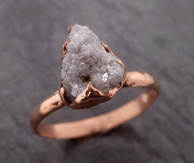 Raw Diamond Solitaire Engagement Ring Rough 14k rose Gold Wedding Ring diamond Stacking Ring Rough Diamond Ring byAngeline 1850