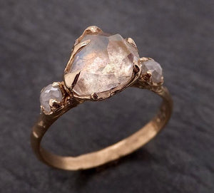 Partially Faceted Moonstone and diamond 14k Gold Ring Gemstone Multi Stone recycled 1856