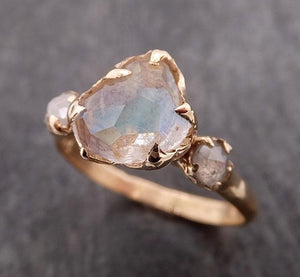 Partially Faceted Moonstone and diamond 14k Gold Ring Gemstone Multi Stone recycled 1856_CUSTOM_CK