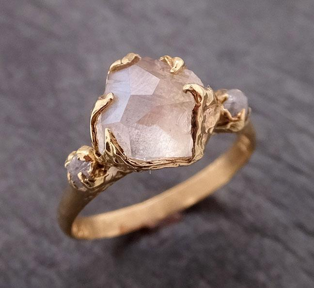 Partially Faceted Moonstone rough diamond 18k Gold Ring Gemstone Multi Stone recycled 1857
