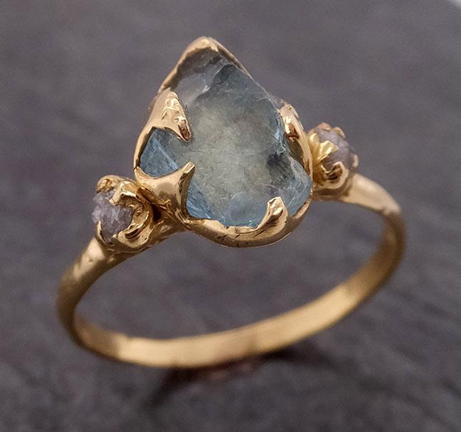 Aquamarine Diamond Raw Uncut 18k Gold Engagement Ring Multi stone Wedding Ring Custom One Of a Kind Gemstone byAngeline 1858