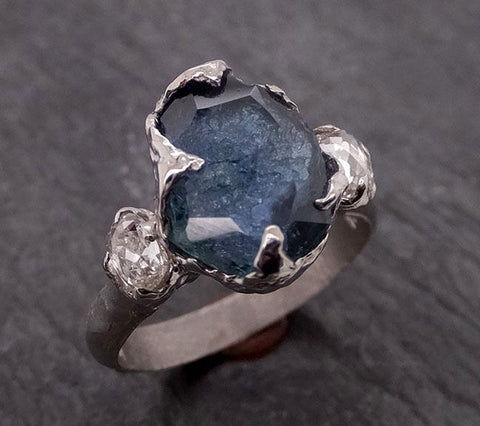 Partially faceted blue Montana Sapphire and fancy Diamonds 18k White Gold Engagement Wedding Ring Custom Gemstone Ring Multi stone Ring 1860